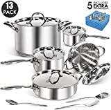 13Pcs Professional Stainless Steel Cookware Set with 5 Microfiber Cloths Classic Kitchen Non-stick...