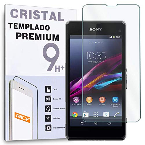 REY Protector de Pantalla para Sony Xperia Z1 Compact Mini Cristal Vidrio Templado Premium