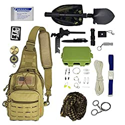 Image: Bug Out Bag Survival Kit - Tactical Sling Bag with Emergency Gear, Hiking Fishing Backpack Tackle Bag Mini Daypack
