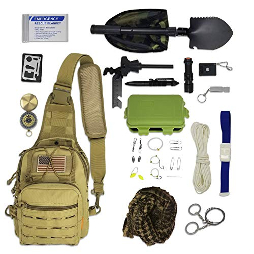 Bug Out Bag Survival Kit - Tactical Sling Bag with Emergency Gear, Hiking Fishing Backpack Tackle Bag Mini Daypack
