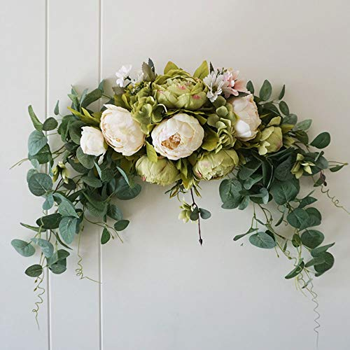 INFILM 30Inch Wedding Artificial Peony with Green Leaves Swag,Handmade Flowers Backdrop Table Runner Centerpiece Garland for Arch Front Door Wall Home Hanging Wreath Decor
