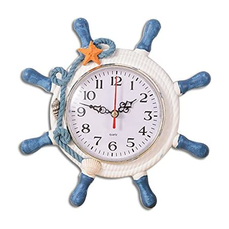 WINOMO Wheel Wall Clock Decoration Nautical Silent Wall Clock with Rope Decor Ticking (Random Color)