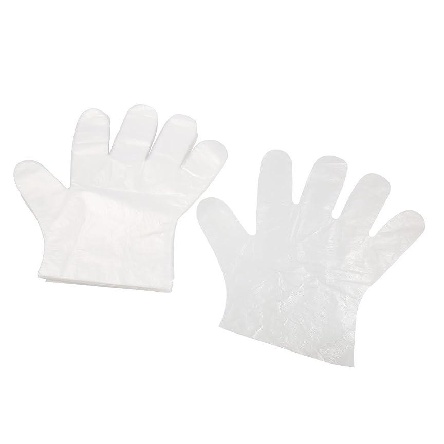 不適会話ぼろuxcell ポリエチレングローブ PE手袋 PE プラスチック製 クリア ホワイト 屋外バーベキュー用 絵画の助手 50ペア入り