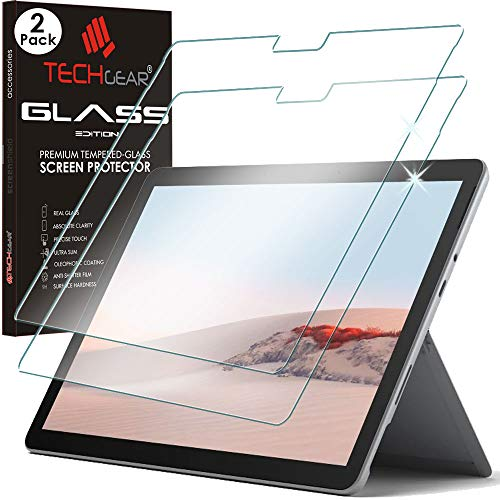 TECHGEAR GLASS Edition [2 Pack] Screen Protectors fits Microsoft Surface Go 2, Genuine Tempered Glass Screen Protectors [9H Toughness] [HD Clarity] [Scratch-Resistant] [No-Bubble]