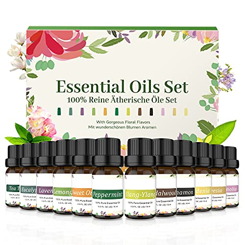 Ätherische Öle Set Top 12 x 10ml Essential Oils für Aroma Diffuser, Aromatherapie Duftöl Geschenkset, 100{cda5cb28c54a020ab992219d21cdd65030b43d51170e6771c320ac98525c836b} Pure Naturrein Ätherisches Öl für Luftbefeuchter, Duftlampen, Seife, SPA, Massage