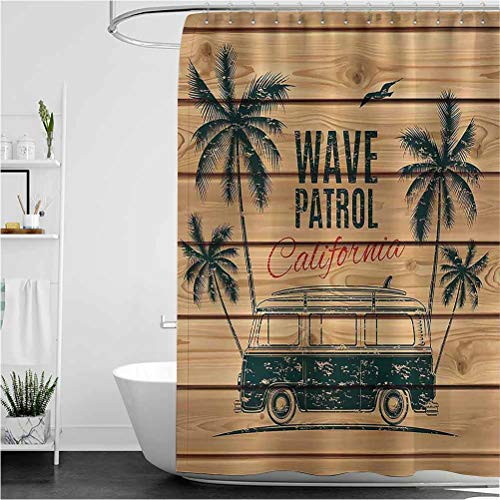 """Interestlee Surf Shower Curtain Liner Vintage Minivan with Tropical Trees on Wooden Planks Freedom Fun Wave Weekend Theme Machine Washable Privacy Curtain Brown Teal 40"""" x 72"""""""