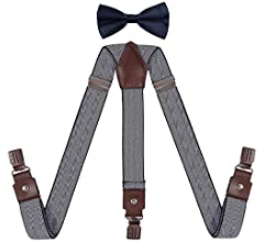 YJDS Mens Suspenders and Bow Tie Set with Antique Bronze Clips Y Back Leather