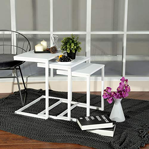 FURNISH 1 Set of 3 Nesting Table End Table-White Wooden Tops/Steel White Legs