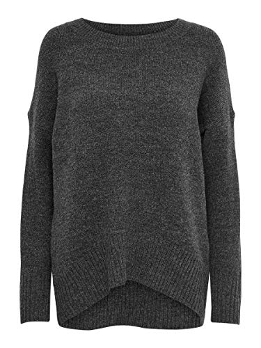 Only ONLNANJING L/S Pullover Knt Noos Maglione, Grigio Scuro mélange, S Donna