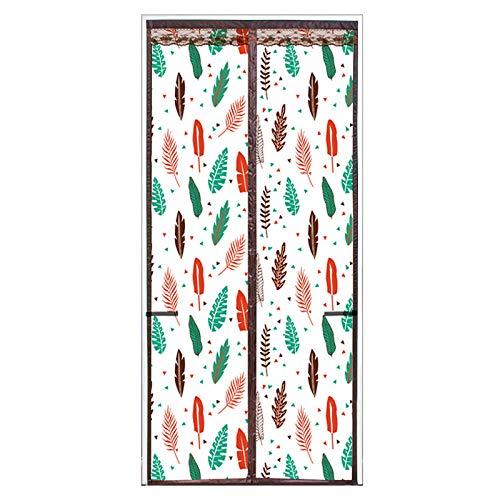Patrón De Hoja De Color Mosquitera Adaptable Para Ventanas 120x210cm / 47x82inches Mosquitera Jardin Sello de arriba a abajo automáticamente, manténgase alejado de la cortina de mosquitos para puerta