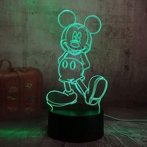 Lámpara de ilusión 3D LED 3D para niños, luz nocturna de Minnie Lámpara de escritorio, 7 colores táctiles, mando a distancia para casa, dormitorio, USB, regalo de cumpleaños, Minnie Mouse y Mickey