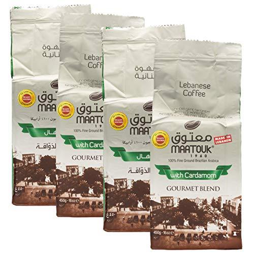 Maatouk - Arabischer Mokka Kaffee gemahlen mit Kardamom verfeinert im 4er Set à 450 g (1800 g)