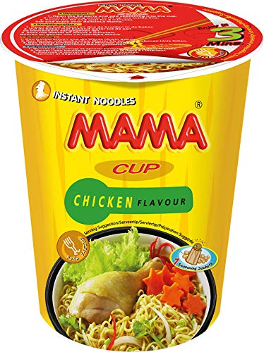 MAMA Instant-Cup-Nudeln mit Hühnerfleischgeschmack – Instantnudeln orientalischer Art – Authentisch thailändisch kochen – Enthält Gabel – 2 x 8 à 70 g