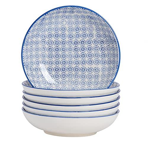 Nicola Spring Bols à pâtes Fantaisie en Porcelaine avec Motifs imprimés de Fleurs Bleues - Boîte de 6