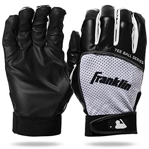 Franklin Sports Youth Teeball Batting Gloves - Youth Flex - Kids Batting Gloves for Teeball, Baseball, Softball - Black/White - Extra Small