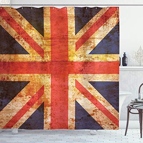 "Ambesonne England Shower Curtain, Grunge Union Jack Design National United Kingdom Country Flag Image, Cloth Fabric Bathroom Decor Set with Hooks, 70"" Long, Blue Red"