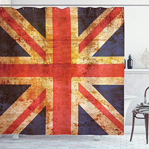 "Ambesonne England Shower Curtain, Grunge Union Jack Design National United Kingdom Country Flag Image, Cloth Fabric Bathroom Decor Set with Hooks, 70"" Long, Blue Red"