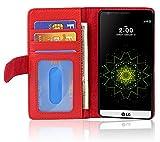 Cadorabo Coque pour LG G5 en Rouge Cerise - Housse Protection avec Fermoire Magnétique et 3 Fentes...