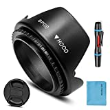 58mm Lens Hood,Universal Tulip Flower Lens Hood Sun Shade with Centre Pinch Lens Cap for Canon Nikon Sony Pentax Olympus Fuji Camera