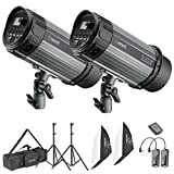 Neewer 600W 5600K Luz de Flash Estroboscópico y Difusor Kit para Estudio Foto:(2)300W Monoluz Flash,(2)Soporte de Luz,(2)Difusor,(1)RT-16 Disparador Inalámbrico,(1)Bolsa para Disparo Vidéo,Retrato