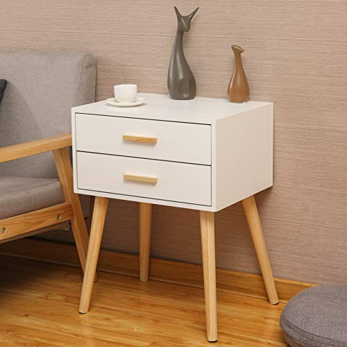 Hironpal Bedside Table Units Cabinets White Nightstand Storage with 2 Drawers Side End Table MDF Oak Legs Bedroom Living Room