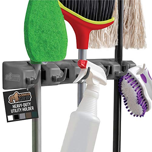 Gorilla Grip Mop and Broom Holder, Easy Install Wall Mount Storage Rack, Organize Cleaning Supplies, Garden Tools, Organizer for Home Kitchen, Garage, Closet Pantry, Laundry Room, 5 Slot 6 Hooks, Gray