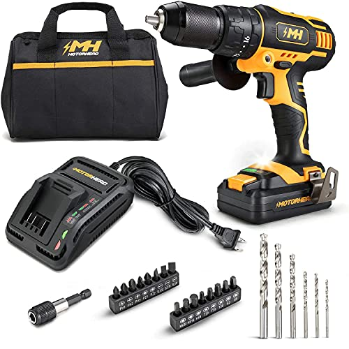"""MOTORHEAD 20V ULTRA Cordless Hammer Drill Driver, Lithium-Ion, ½"""" Ratcheting Keyless Chuck, 16+1+1 Clutch, 2-Speed Transmission, Variable Speed Trigger, Built-in LED, 2Ah Battery, Charger, USA-Based"""