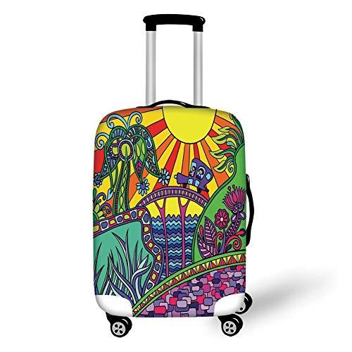 Reizen Bagage Cover Koffer Beschermer, Marokkaan, Vintage Tegel Ontwerp met Ovale Motieven Ottomaanse Mandala Figuren Sierdecoratief, Groen Vermilion Ruby,voor Reizen