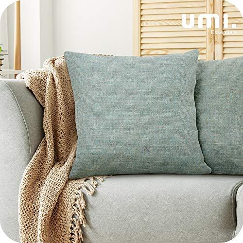 UMI. by Amazon - Fundas para Cojin para Sofa Modernos Cubierta Color Liso 2 Piezas 40x40cm Azul Oscuro