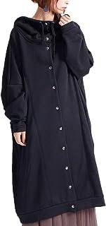 [ゴールドジャパン] 大きいサイズ レディース コート パーカー 裏シャギー ロング 長袖 ポケット フード ボタン スウェット 長い
