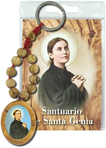 Llavero Santa Gema con decenario en madera de olivo y oración en español