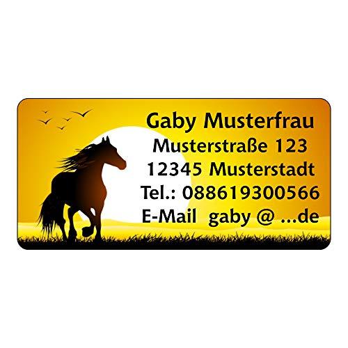 Adressaufkleber - Adressetiketten - Pferd mit Sonnenuntergang - 210 Stück 54 x 25 mm, 1-5 Zeilen beschriftbar