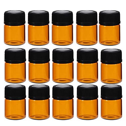 Lurrose 100 Unidades 2Ml Mini Frascos de Vidrio Ámbar Aceites Esenciales Botellas de Muestra Mini Tarro de Vidrio con Tapón Perforado para Aceites Esenciales Perfumes Aroma Química