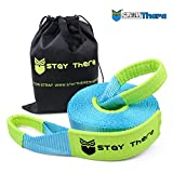 Stay There 3'' x 30 ft Tow Recovery Strap, Heavy Duty with 30,000 lb Capacity-Emergency Towing Rope for Recovery Vechiles-Storage Bag (Light Blue)