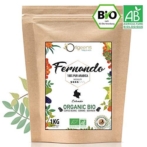 ☘️ BIO Kaffeebohnen 1kg   Biologische Arabica Kaffee Ganze Bohnen   Single Origin Kolumbien Fernando   Säurearm   Traditionelle Röstung