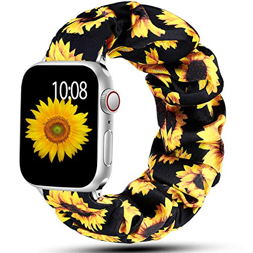 Muranne Compatible for Apple Watch Band SE 38mm 40mm for Women Womens Soft Scrunchie Elastic Strap Watch Bands Printing Replacement Wristband for iWatch Series 6 5 4 3 2 1 Sunflower 38mm/40mm Large
