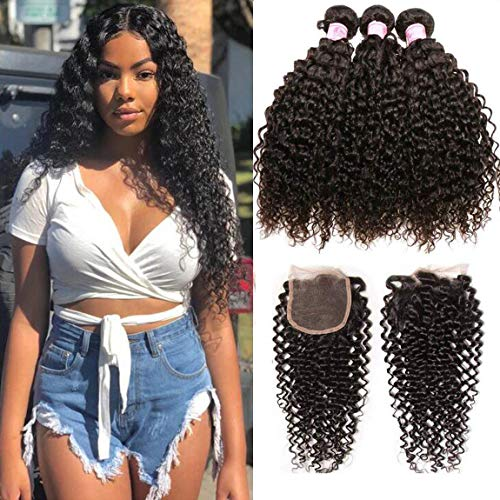 Beauty Forever Malaysian Curly Hair 3 Bundles with Lace Closure Free Part 44 Unprocessed Curly Virgin Human Hair Weave Natural Color (18 20 22 +16 Closure)