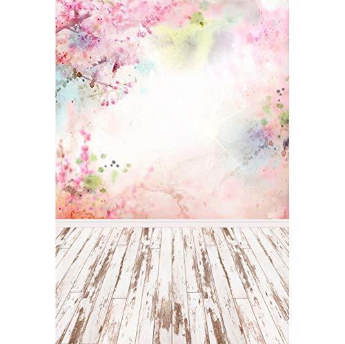 Cassisy 2x3m Vinyl Frühling Fotohintergrund Draußen Aquarell Kirschblüte Wallpaper Holzbretter Fotoleinwand Hintergrund für Fotoshoot Fotostudio Requisiten Party Photo Booth