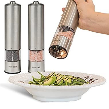 Horizon Kitchen Stainless Steel Electric Salt and Pepper Grinder Set - Pack of 2 Battery Operated Mills - Automatic Grinders with LED Light - Electronic Shakers with Adjustable Coarseness and caps