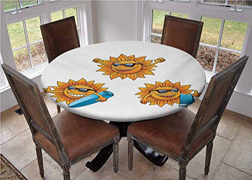 """Round Table Cover with Elastic Edges,Surf Sun Characters Wearing Shades and Surfboards Fun Hippie Summer Kids Design Picnic Tablecloth,Diameter 54"""""""
