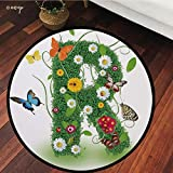 №16152 Round Area Rug Floor Kitchen Carpet, Letter R,Uppercase R with Flora and Fauna Wildflowers Daisies Butterflies and Grass Decorative,Green Multicolor, for Home Decor