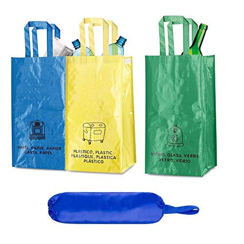 Natuiahan Paket med 3 långvariga återvinningspåsar. Robust, praktisk och enkel att rengöra och bära. Inkluderar en återvinningspåse för förvaring av plastpåsar
