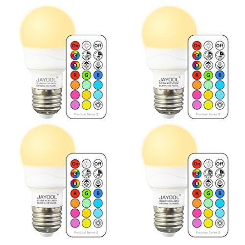 Jayool Ampoules à LED Changement de Couleur, Dimmable 3W E27 Vis RGBW Ampoules, 12 RGB Couleurs + Blanc Chaud, Double mémoire et Timing, Télécommande Incluse (Lot of 4)