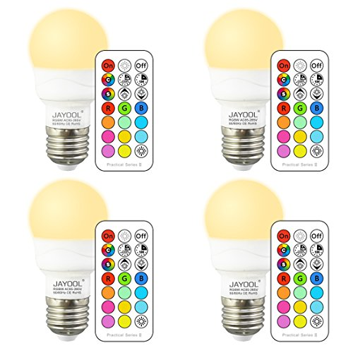 Jayool Ampoules à LED Changement de Couleur, Dimmable 3W E27 Vis RGBW Ampoules, 12 RGB Couleurs + Blanc Chaud, Double mémoire et Timing, Télécommande Incluse (Lot of 4)