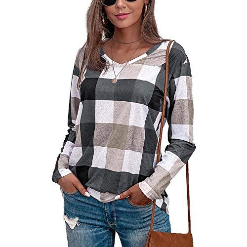 Camiseta de Manga Larga Mujer, 2021 Moda Casual Diario Sabana de Algodon Elegante Impresión a Cuadros Cuello Redondo Lentejuelas Blusas Sudadera Bolsillo básica Suelto Camisas Top tee Jersey