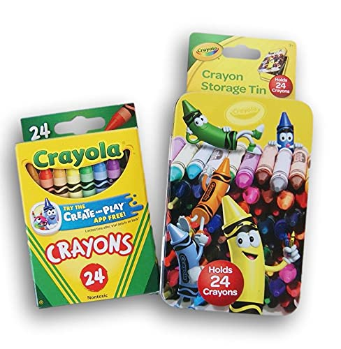 Mini Crayon Tin With Set of 24 Crayons for Coloring Fun at Tables