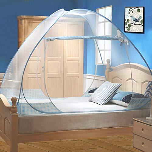 Digead Moskitonetz Bett, Faltbares Bett-Moskitonetz, Tragbares Reise-moskitonetz, Doppeltür-Moskito-Campingzelt,150 * 200 cm-Blauer Rand
