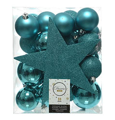 Kaemingk - Set di 33 palline turchesi con puntale per albero di Natale