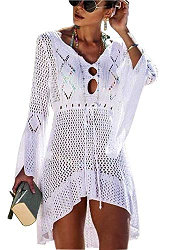 Yidarton Strandkleid Damen Gestrickte Sommerkleid Bikini Cover Up Crochet Strandponcho V-Ausschnitt Badeanzug Beachwear Cover Up (Weiß)