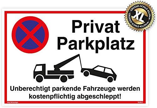 Großes Schild Privat Parkplatz | Alu 42 x 30 cm | Unberechtigt parkende Fahrzeuge Werden kostenpflichtig abgeschleppt! weiß | stabiles Alu Schild mit UV-Schutz | Privat Parkplatzschild | Dreifke®